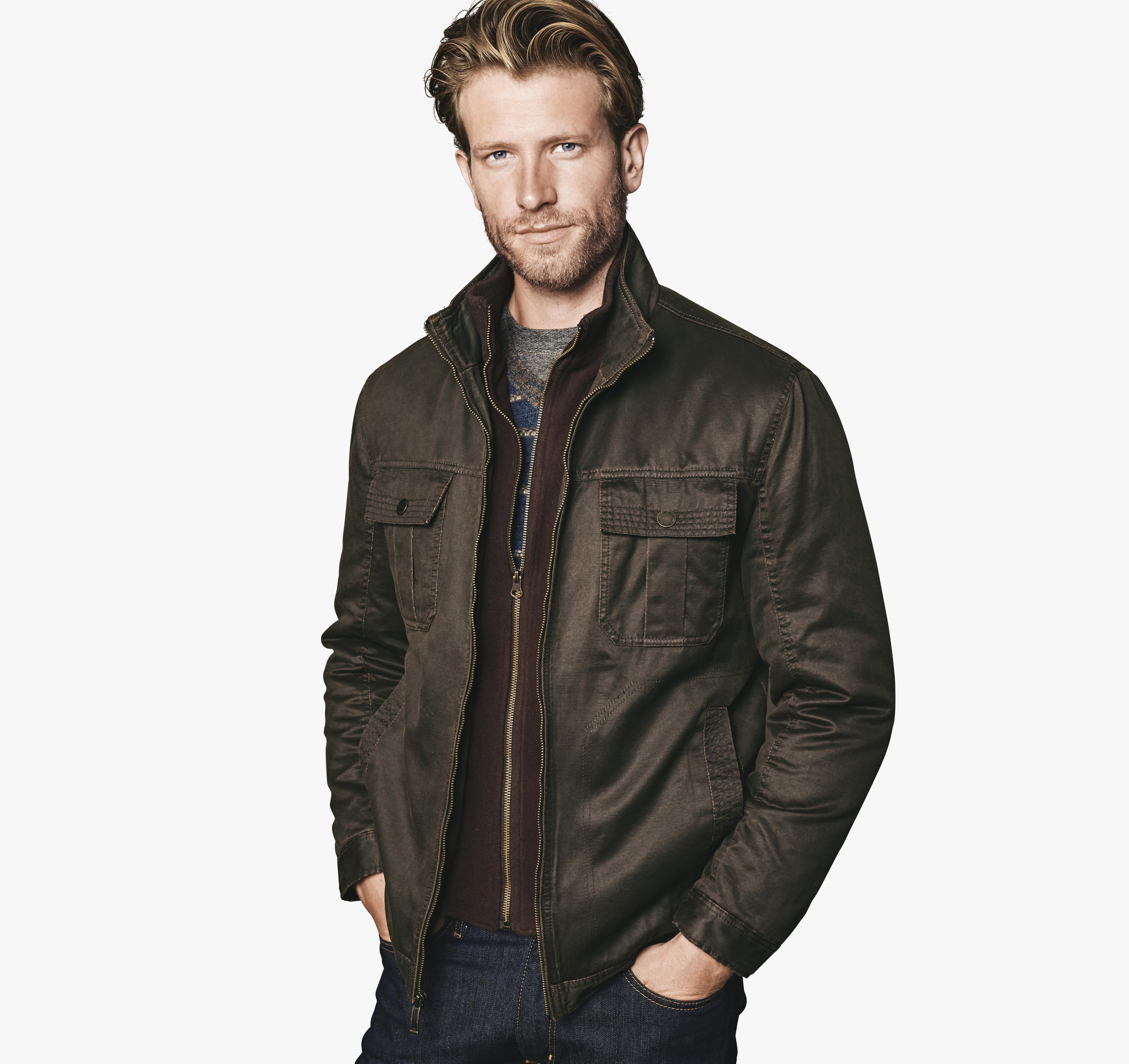 Johnston & Murphy Antiqued Cotton Fleece Bib Jacket