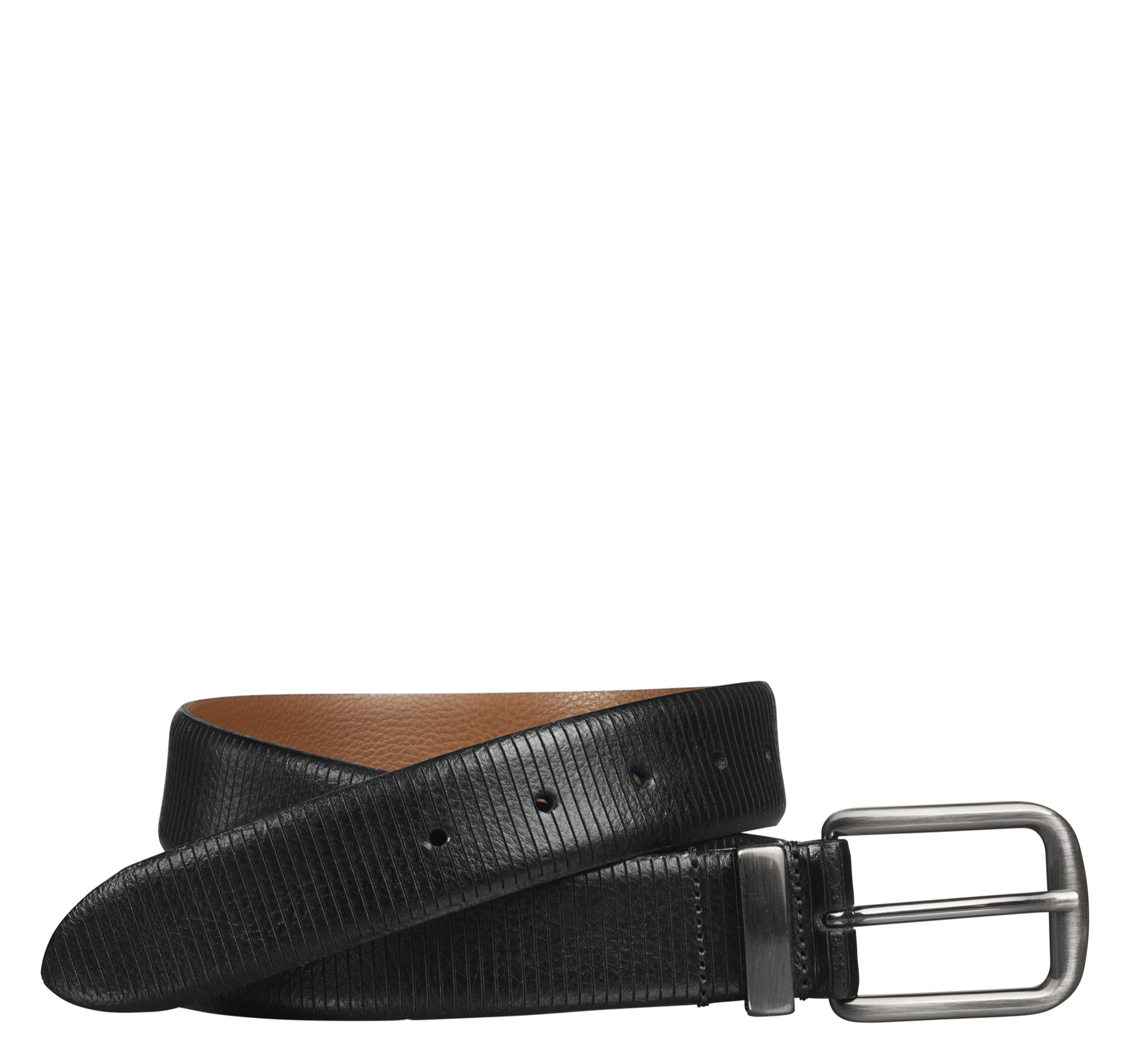Johnston & Murphy Vertical Scored Leather Belt