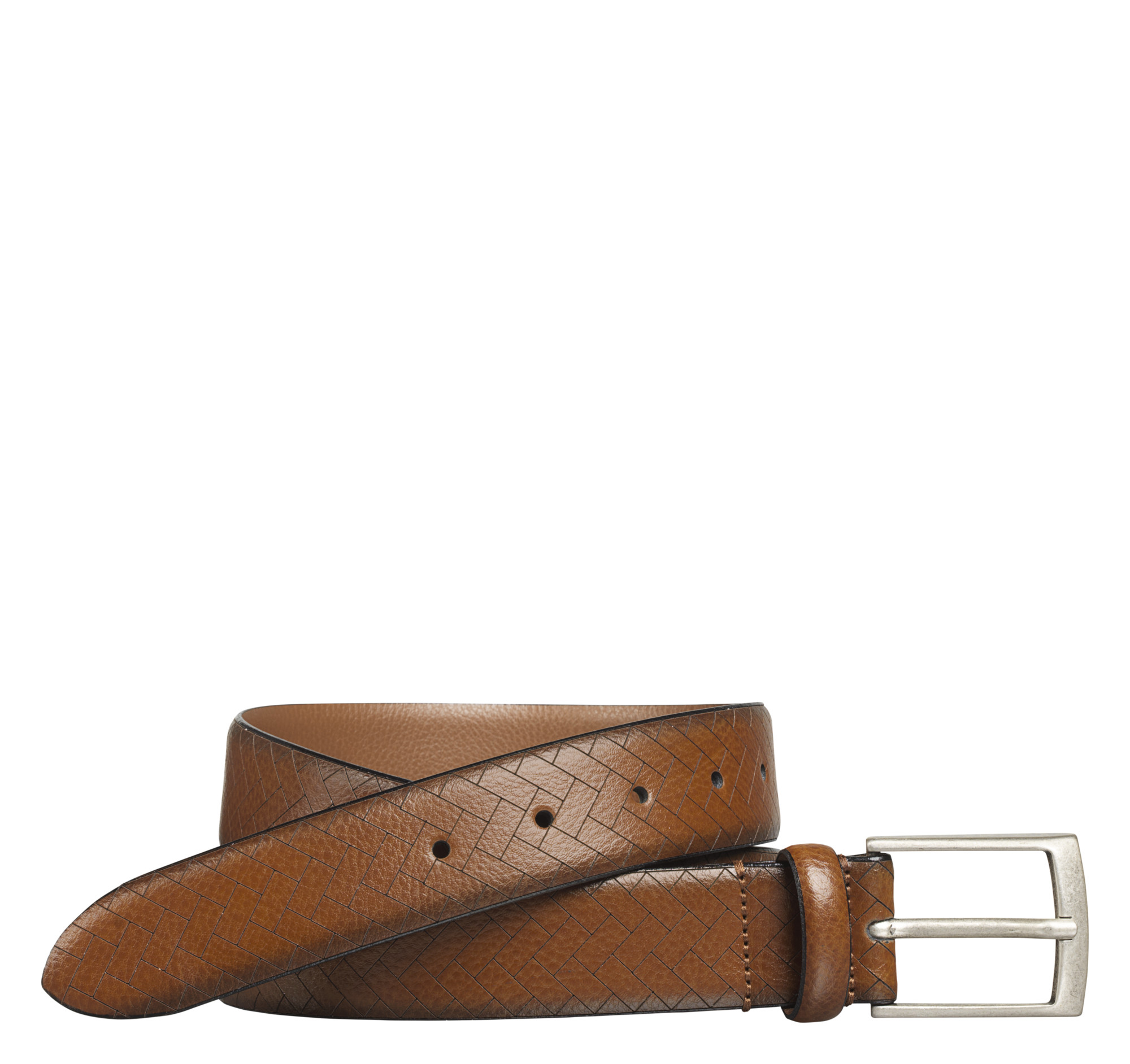Johnston & Murphy Chevron-Engraved Belt