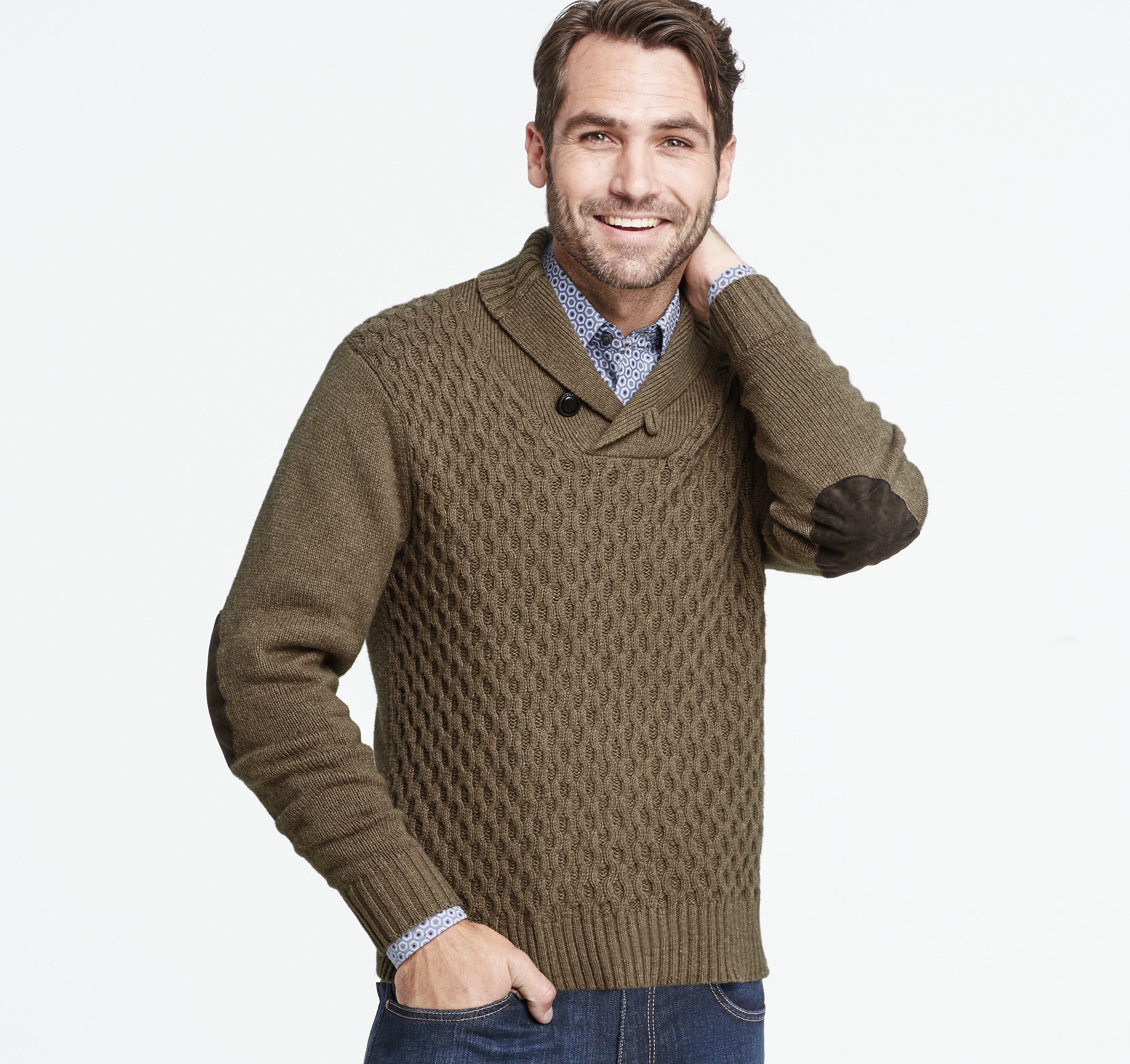595550c94 Textured Shawl-Collar Sweater