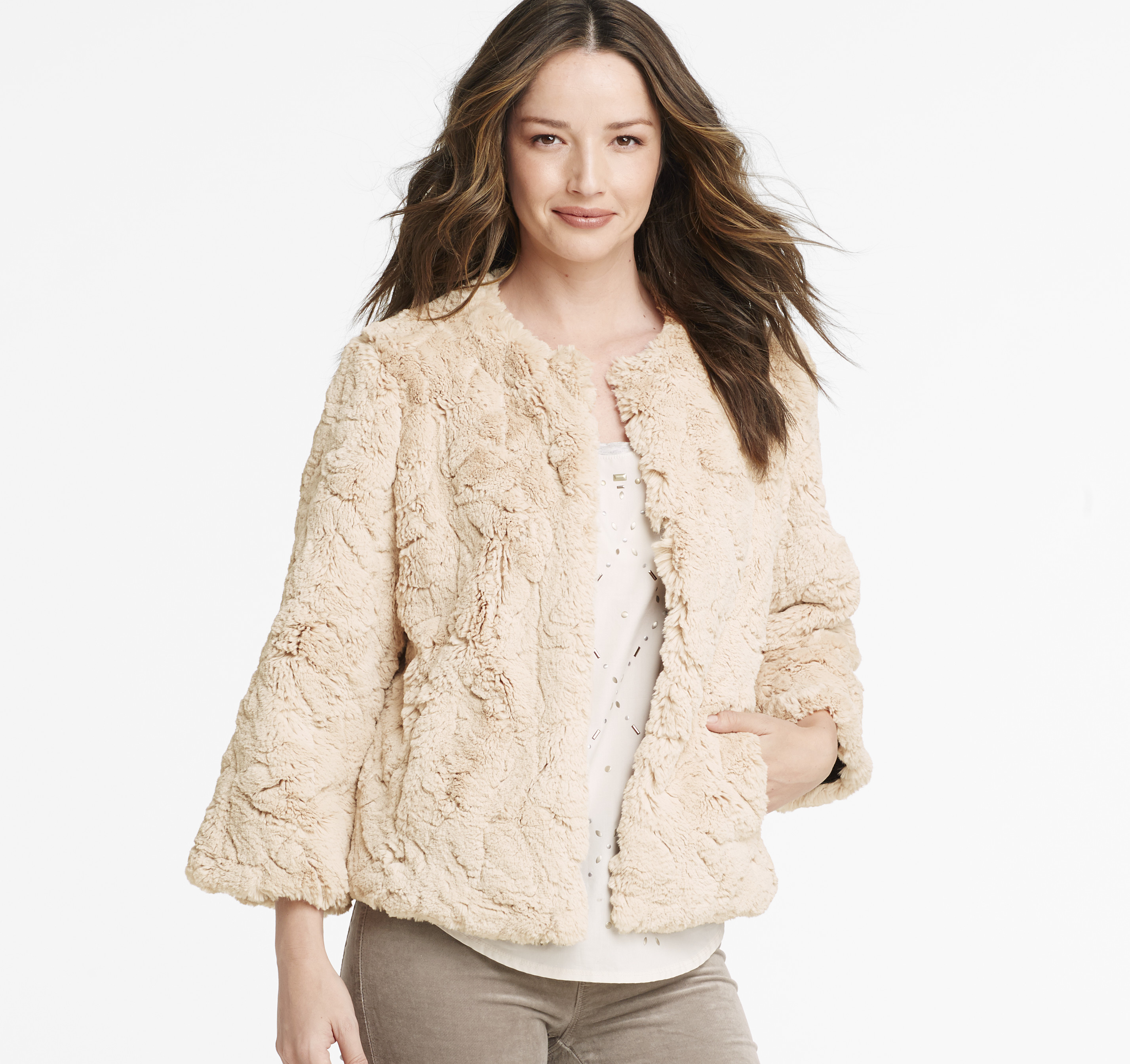 Faux-Fur Cropped Jacket is rated out of 5 by Rated 5 out of 5 by cbe from Icing on the cake This was perfect to finish off my Granddaughters dressy outfit to attend a Christmas play.