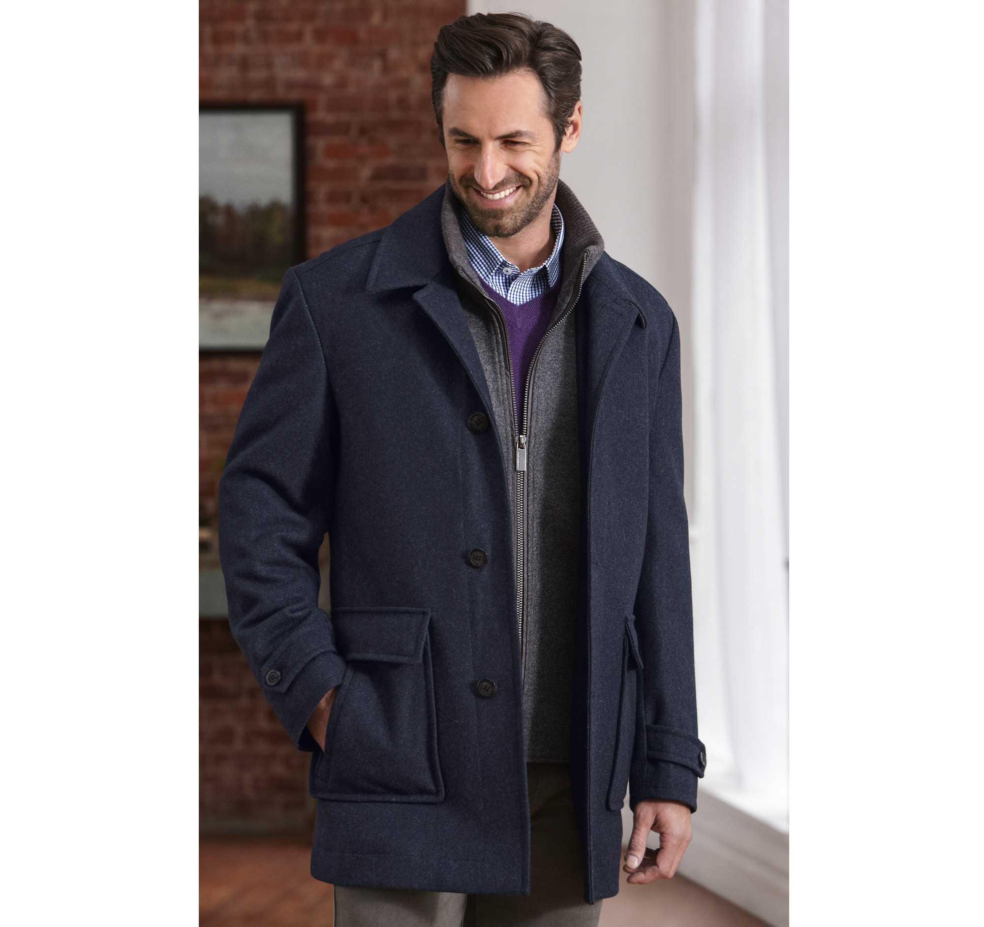 Double-Faced Melton Car Coat | Johnston & Murphy