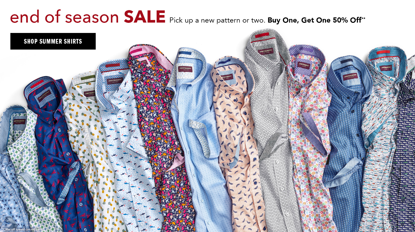 Shop Men's Shirts - Buy One, Get One 50% Off