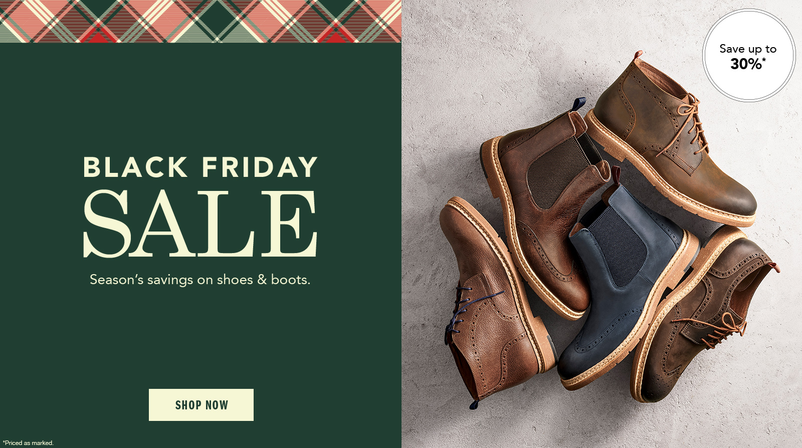 Black Friday Sale Men's Shoes Up to 30% Off